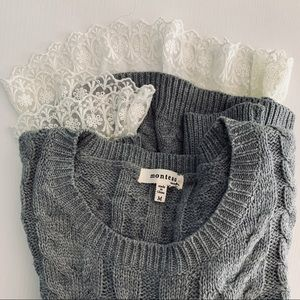 Monteau Grey Cable Knit Sweater w/attached Lace